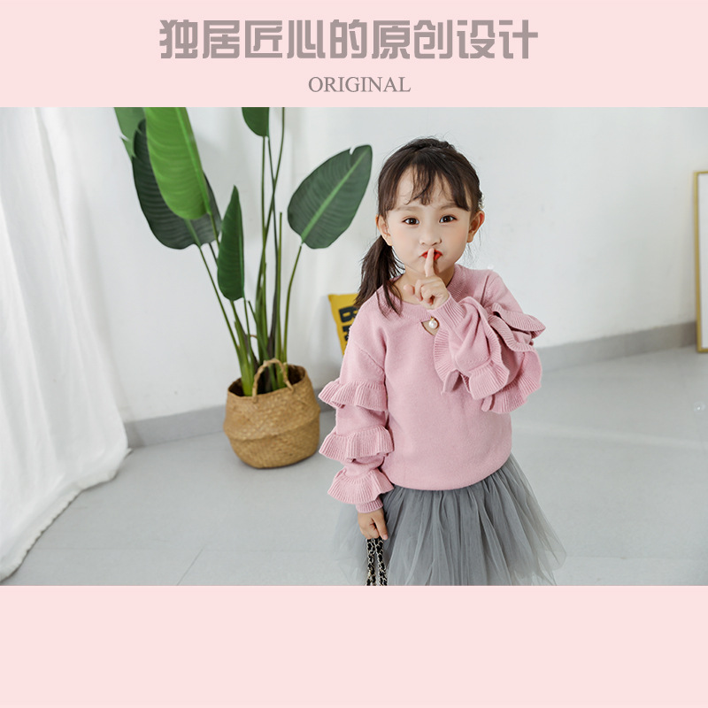 CHILDREN'S Sweater Sweet Girls Solid Color Sweater Cute Baby Pullover Sweater Spring And Autumn New Style GIRL'S Sweater