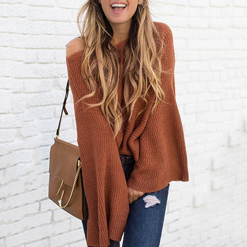 Women Pullover Sweater Autumn Solid Long Sleeve Round Neck Knitwear Tops Fashion Casual Loose Flare Sleeve Knitted Sweater 2019 autumn ruffles sweater women sweet flare sleeve slim winter sweater pullover o neck casual female jumper knitwear tops