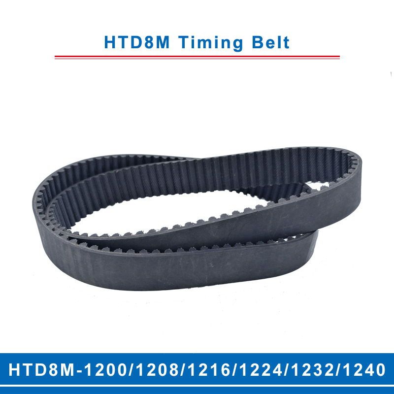 timing belt HTD8M 1200/1208/1216/1224/1232/1240 teeth pitch 8mm circular teeth belt width 20/25/30/40mm for 8M timing pulley Transmission Belts     - title=