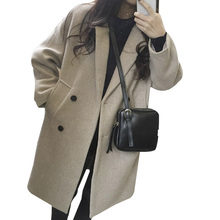 NORMOV New Thin Wool Blend Coat Women Solid Long Sleeve Turn