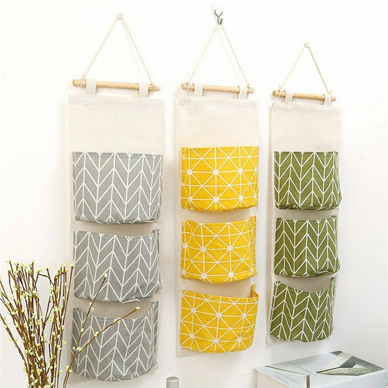 Hanging Storage Bag Linen Cloth 3 Pocket Sundries Kitchen Bathroom Organizer