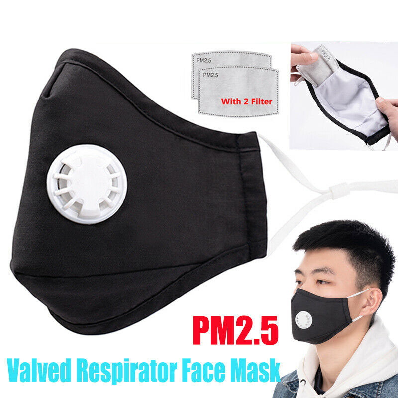 5/10/50Pcs Face Mouth Mask Respirator Valved PM2.5 Anti Dust Haze Bacterial Safety Mask With 2 Filters Mascarilla Coronavirus