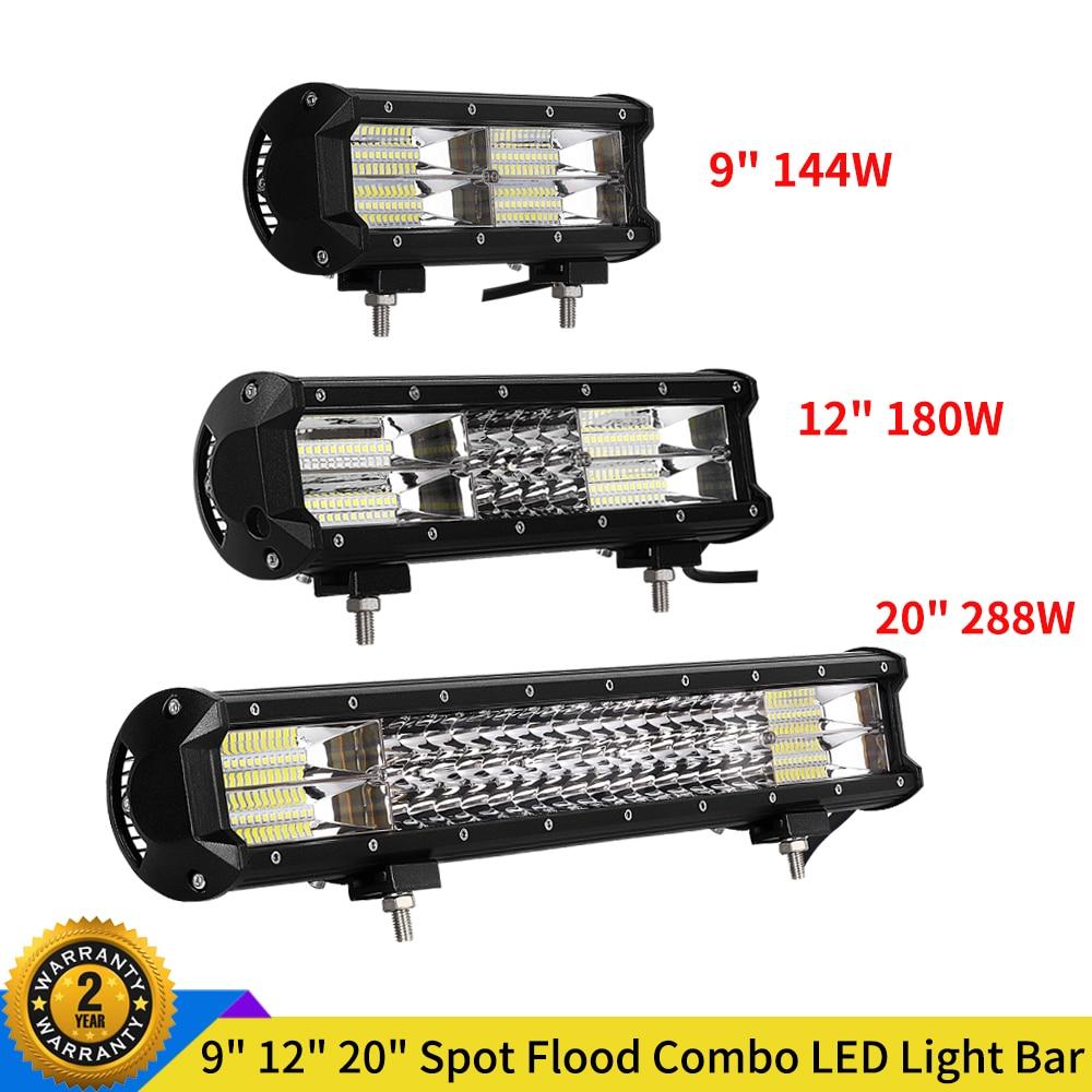 "9"" 12"" 20"" Off road LED Light Bar 144W 180W 288W Spot Flood 3 Rows Work Light Ledbar for Offroad ATV Truck Jeep Tractor 12V 24V"