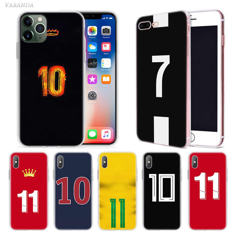 Sepak bola Nomor 10 Case untuk Apple iphone 11 Pro XS Max XR X 7 8 6 6S Plus 5 5S SE Silikon Fundas Phone Cover Coque Carcasa Capa