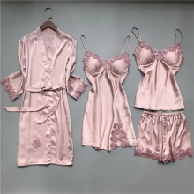 2020 Women Pajamas Sets Satin Sleepwear Silk 4 Pieces Nightwear Pyjama Spaghetti Strap Lace