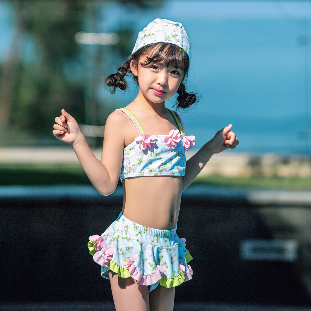 2019 Children Split Type Swimsuit Female Baby Hot Springs Skirt Swimwear Bikini Cute Flower Olive Flower 1026