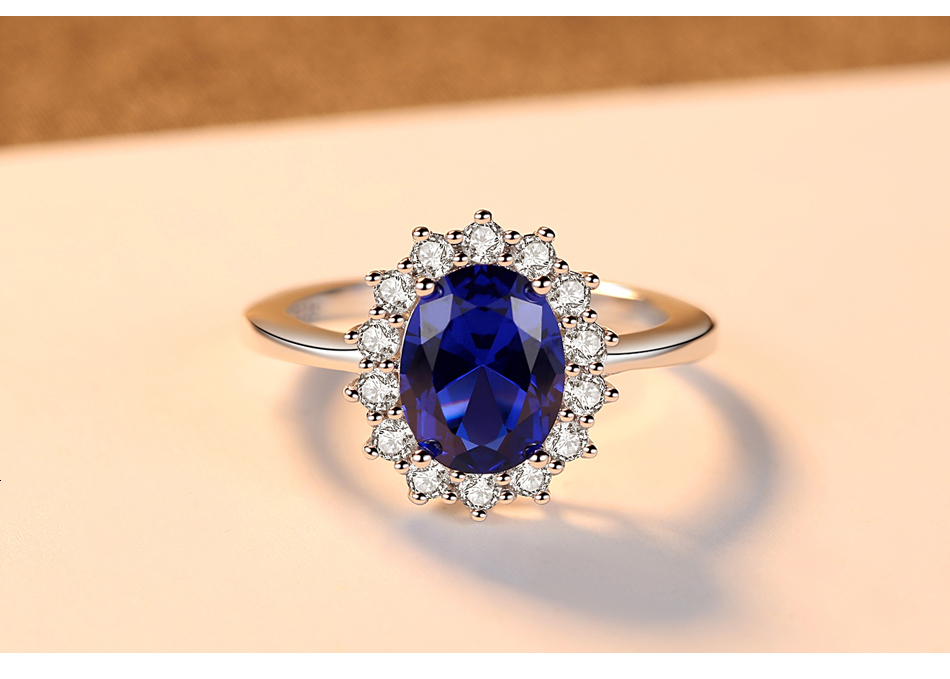 H3e2fdbb0e10040449509a47343f3c1fcD CZCITY Princess Diana William Kate Gemstone Rings Sapphire Blue Wedding Engagement 925 Sterling Silver Finger Ring for Women