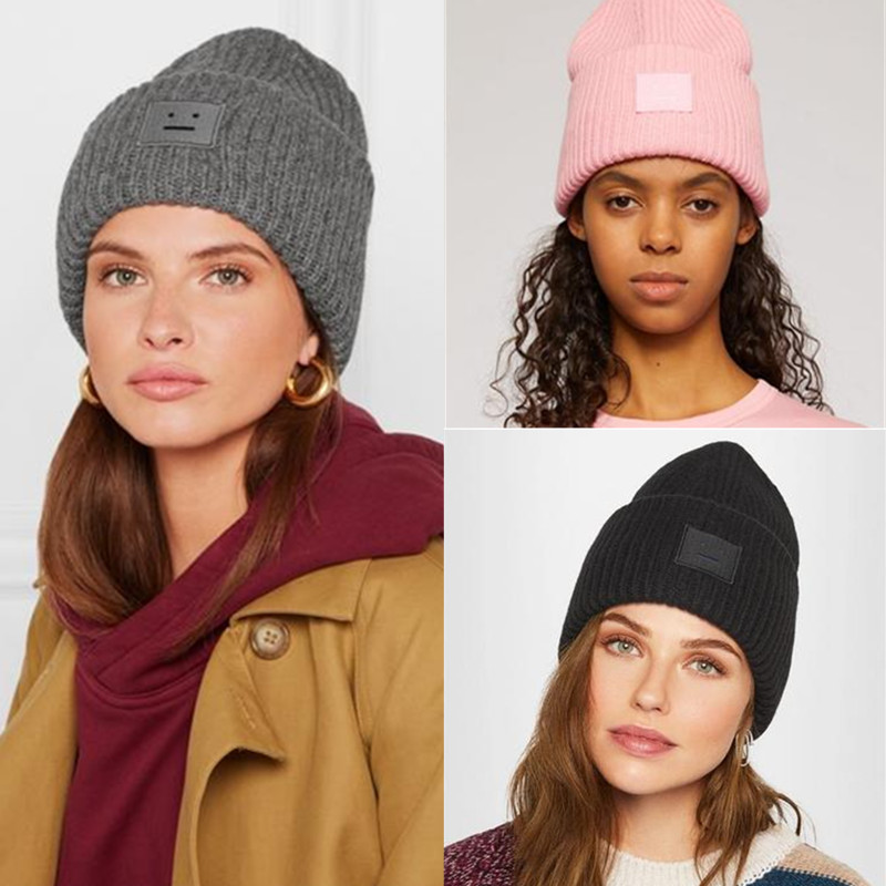 Women's Men's Winter Hat Women Knitted Hat Warm Soft Beanie 2020 New Fashion Couple Square Smiley Face Embroidery Cap