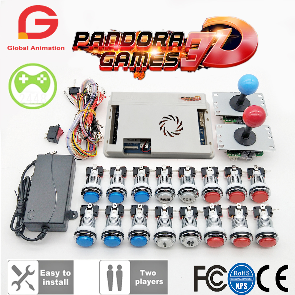 2 Player Original Pandora Game 3D Kit Copy SANWA Joystick,Chrome LED Push Button for DIY Arcade Machine Home Cabinet with Manual