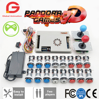 2 Player Original Pandora Game 3D Kit Copy SANWA Joystick,Chrome LED Push Button for DIY Arcade Machine Home Cabinet with Manual