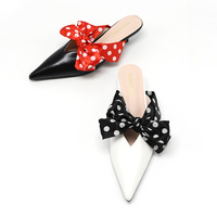 Shoes Women Polka Dot Heels Mules Butterfly knot Pointed Toe Slippers Fashion Shallow Slides Black White High Quality Sandals