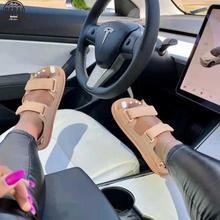 2021 Summer Platform Sandals Soft Comfortable Roman Slippers For Women Beach Candy Color Slide Outdoor Flat Sandals Female