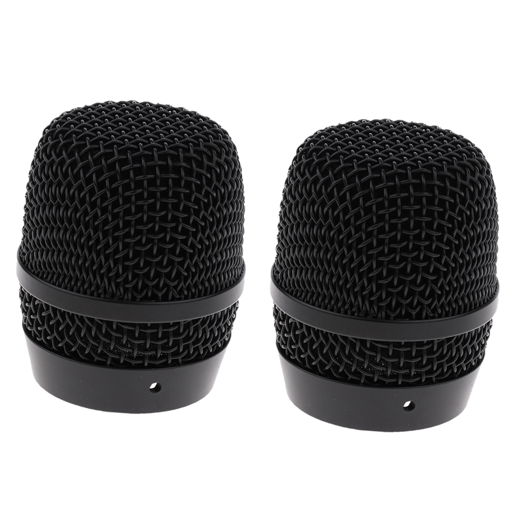 Durable 2PCS 666 Steel Mic Grille <font><b>Ball</b></font> Heads with Inner Foam Filter DIY for <font><b>BBS</b></font> Wireless Microphone image