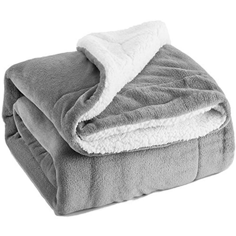 2020 Solid Flannel Blanket Coral Fleece Bedspread Blankets Portable Blanket Woolen Sherpa Weighted Blanket Grey