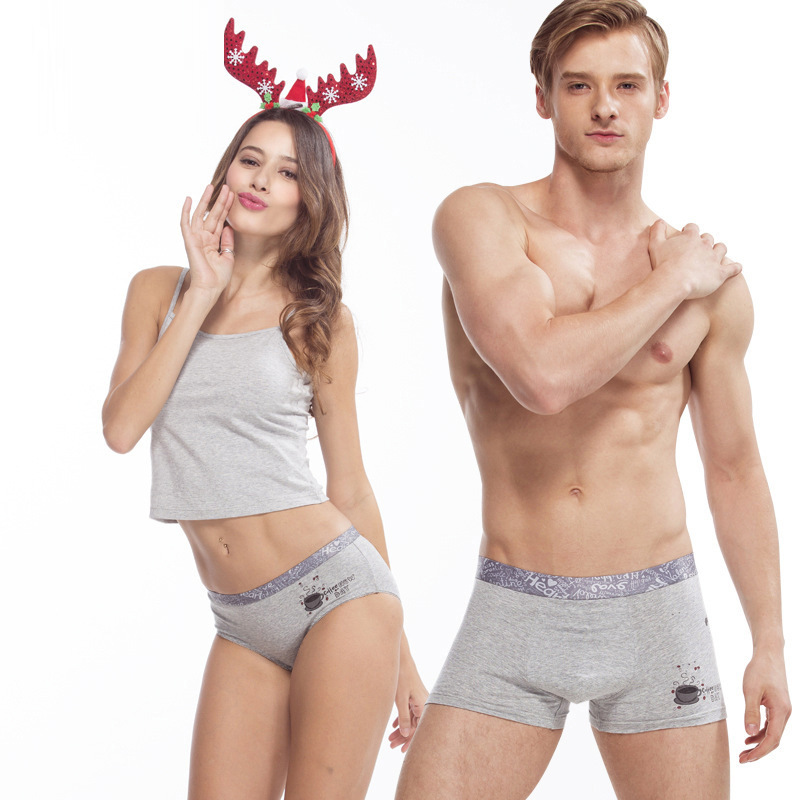 Lovers Panties New Couple Underwear Men's Boxer Ladies Briefs Sexy Solid Color Cotton Underwear Couple Suit Underwear