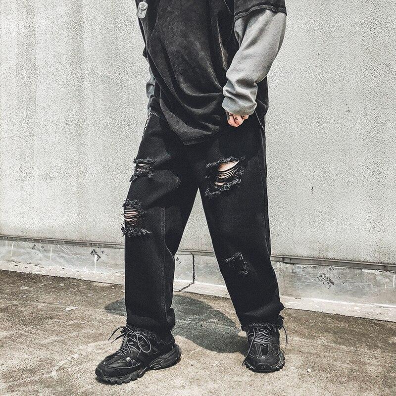 Men Hole Tassel Loose Casual Wide Leg Jeans Male Vintage Streetwear Hip Hop Punk Gothic Harem Denim Pants Lovers Trousers