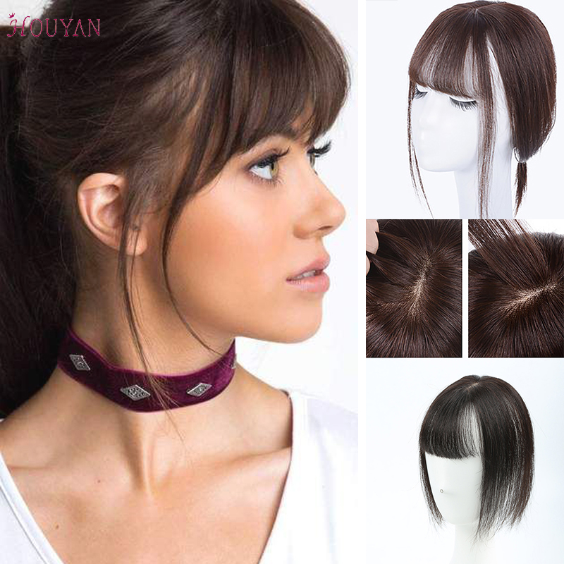 Natural Human Hair Synthetic Invisible Seamless Straight Hair Top Hair Clip With Air Bangs For Women Daily Use HOUYAN