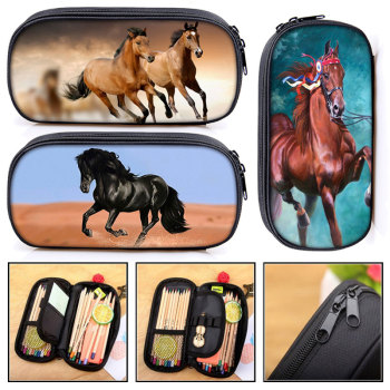 elegant animal horse / pony print Cosmetic Cases pencil bag women makeup bags boys girls box kdis school supplies gift - discount item  5% OFF Special Purpose Bags