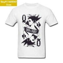 Design rainha de espadas cartões camiseta marca nova moda camisa branca amantes dia crewneck 100% algodão roupas masculinas