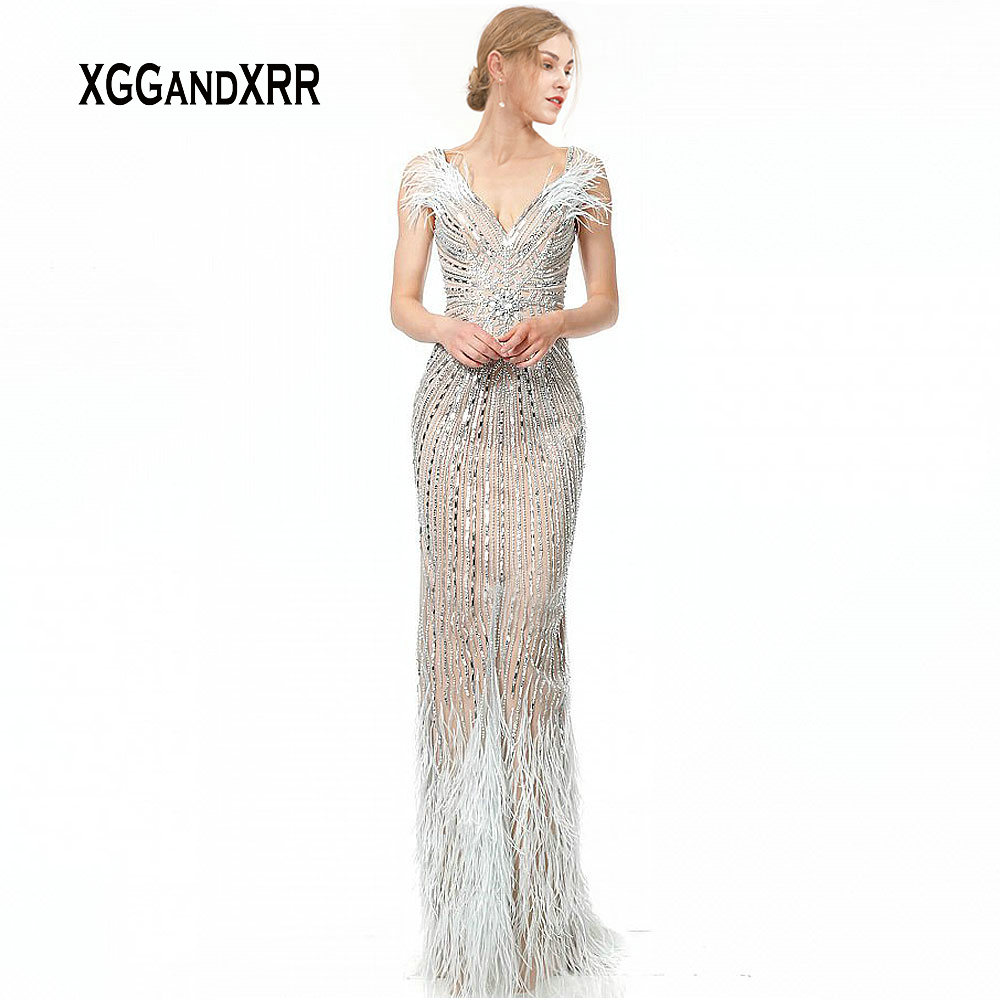 Luxury Feather Prom Dress 2020 Back Slit Long Formal Party Gown Heavy Beading Crystal V Neck Lady Formal Party Gown Plus Size
