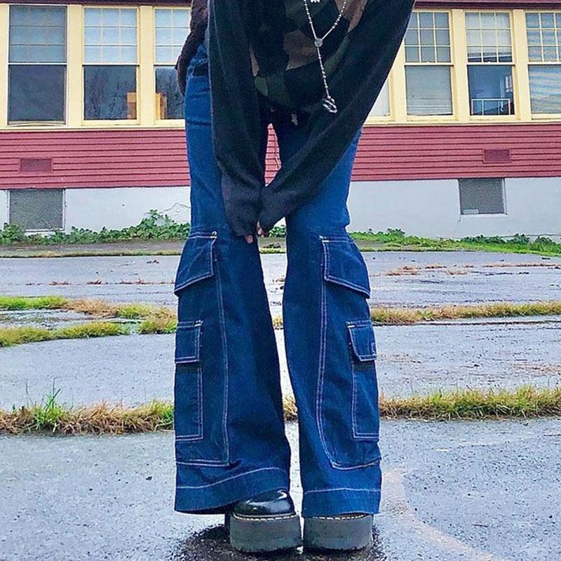 2021 с коротким и широким подолом Стиль инди-бойфренды мешковатые штаны Y2k уличная подростков модная 90s джинсы карманами широкие ноги брюки с ...