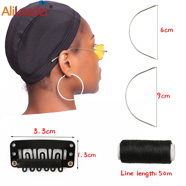 Alileader Diy Wig Making Set Kits Including Wig Weaving Cap/9Cm-C Type Curved Needles/Wig Clips For Hair Extension For Beginner
