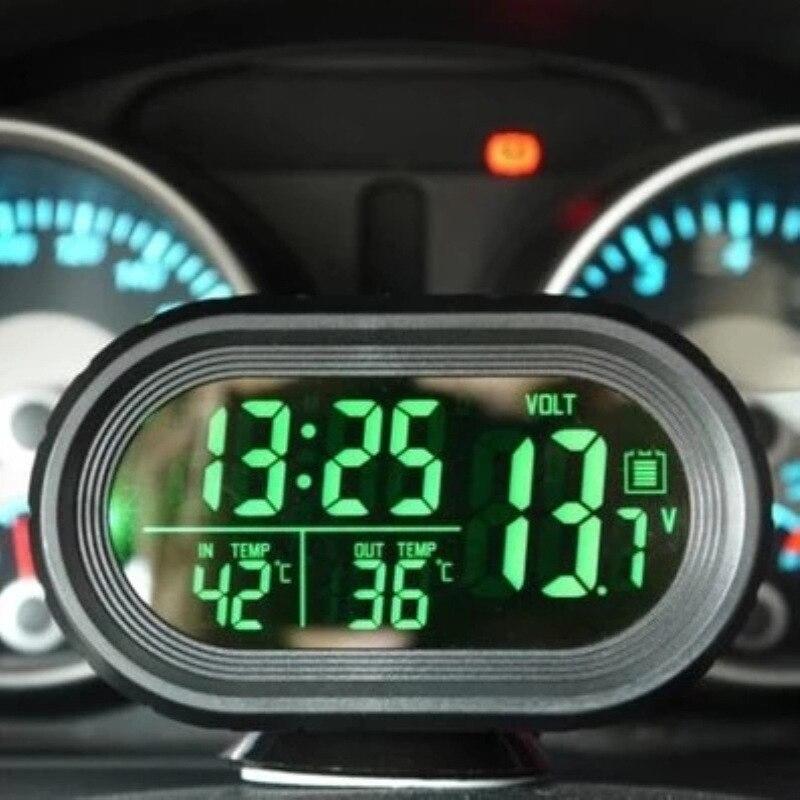 Thermomètre de voiture numérique LED horloge de montre éclairée pour voiture double jauge de température voltmètre montre pour voiture horloge thermomètre