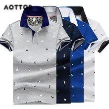 Camisetas masculinas verão algodão impresso polo camisas marcas manga curta gola masculina camisa de golfe respirável camisa de negócios