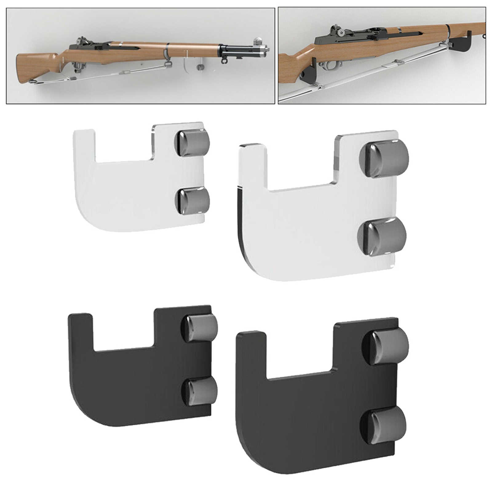 2x acrylic rifle holder musket bracket rifle wall mount display holder clear bookshelf furniture long supports steel mount