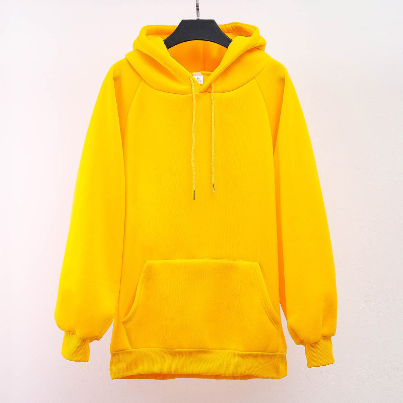 Autumn And Winter Korean-style Orange Hooded Pullover Hoody Women's Loose-Fit Candy Pure Orange Plus Thick Velvet Jacket Men's S