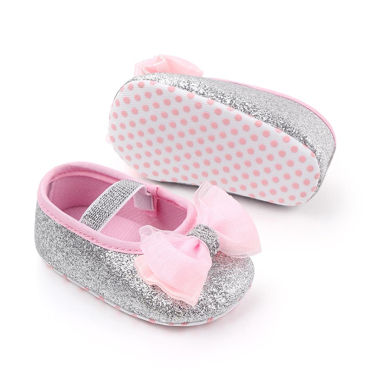 Infant Newborn  Spring Summer Autumn Flats Glitter Bowknot Princess Dress Shoes No-Slip First Walkers