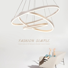 LukLoy Chandelier Led Ring Living Room Modern Simple Creative Personality Restaurant Circular Rotating Staircase Hanging Lights