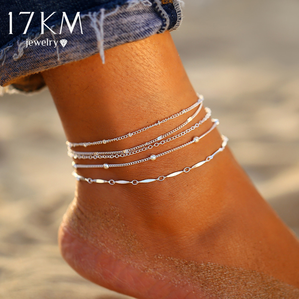 17KM Women Anklets 5PCS/Set Fashion Beads Anklets For Women Multilayes Silver Anklet Bracelet Set 2020 Foot Beach Jewelry Gift