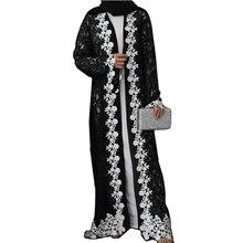 Черная кружевная мусульманская Мода абайя кардиган для женщин
