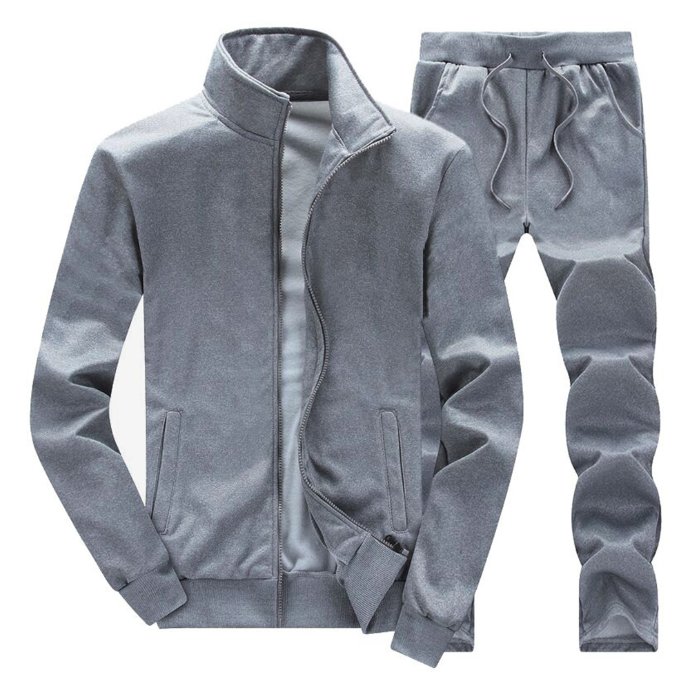 Solid color sports coat casual loose pants two piece sportswear autumn and winter new men's coat pants two piece set