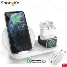Carregador sem fio suporte para iphone airpods apple relógio, estação doca de carga carregador para apple assistir série 5/4/3/2 iphone 12 11 x