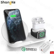 Draadloze Oplader Stand Voor Iphone Airpods Apple Horloge, charge Dock Station Charger Voor Apple Horloge Serie 5/4/3/2 Iphone 11 X Xs(China)