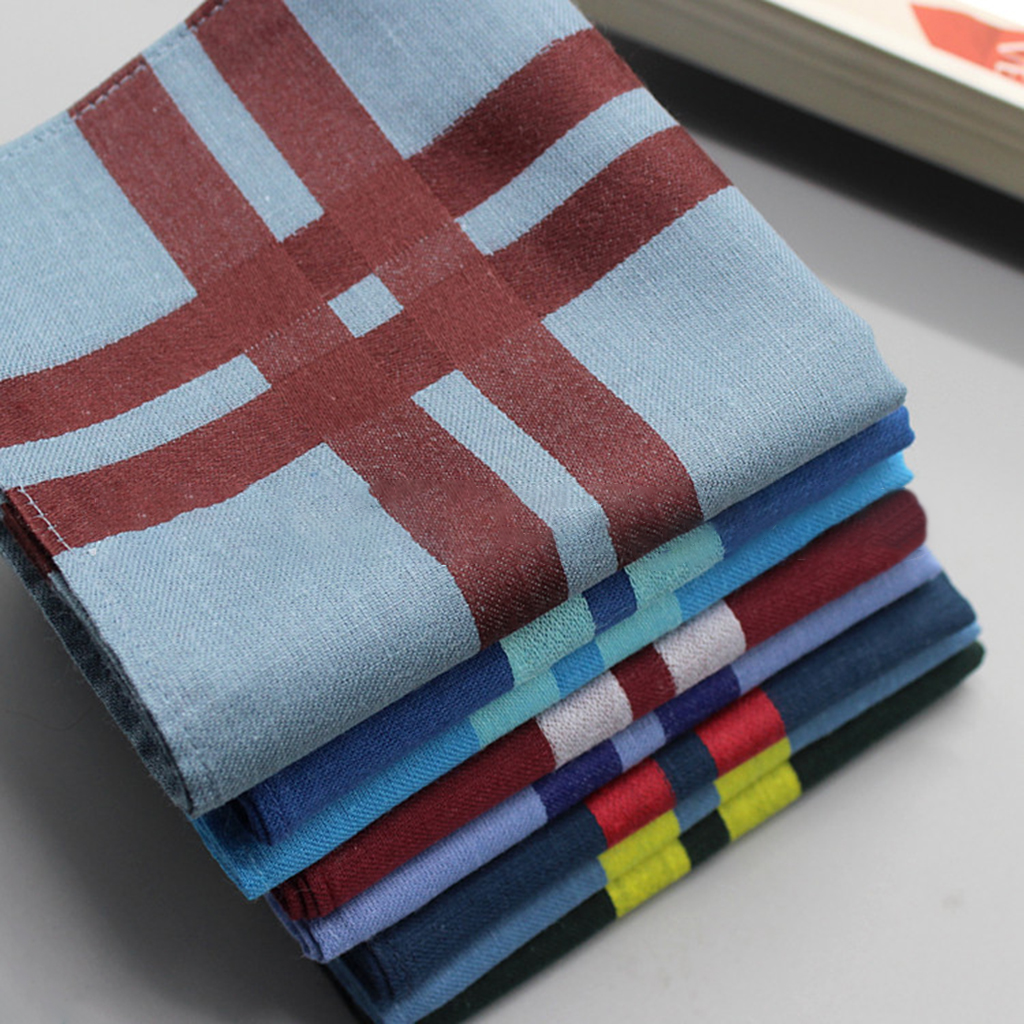 3pcs Mens Pocket Square Woman Handkerchief Cotton Checked Official Suits Square Decorative Grille Hanky