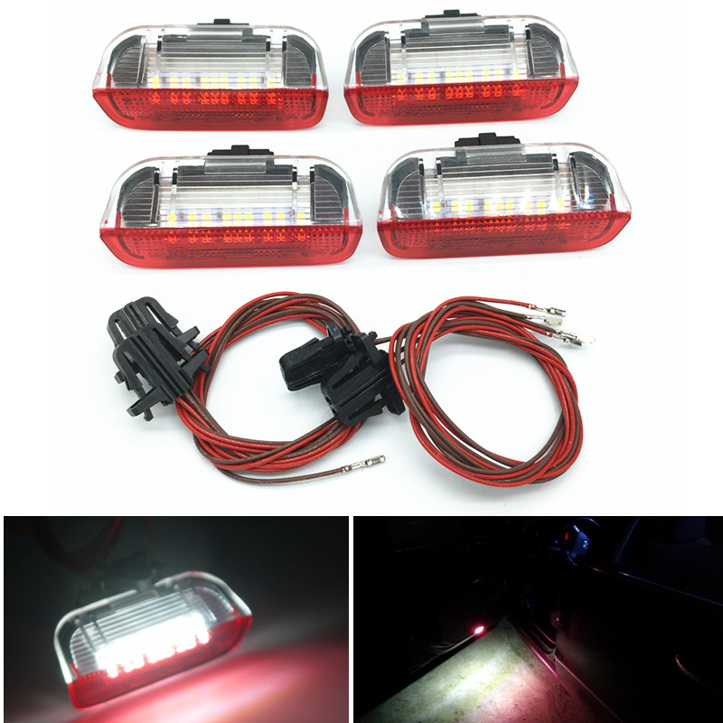 Car LED Door Warning Light Lamps with Cable Wire harness For PASSAT B6 B7 CC Jetta Golf 5 6 MK6 7 MK7 EOS Tiguan Sharan Scirocco(China)