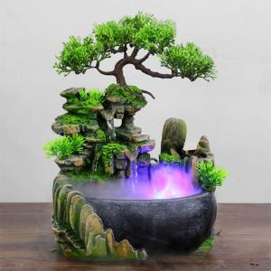 Creative Indoor Simulation Resin Rockery Fake Tree Feng Shui Waterfall Fountain Home Office Desktop Spray Humidifier Decoration