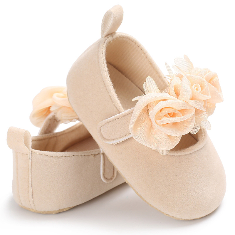 New Rose Flower Pink Princess Newborn Baby Girl Shoes First Walkers Soft Cotton Anti Slip Toddler Shoes Solid Color Infant Shoes 3