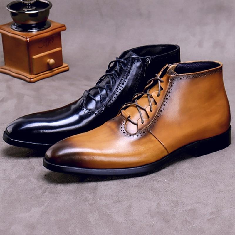 Модные мужские ботильоны на шнурках из натуральной кожи ручной работы; Мужская обувь для верховой езды с высоким берцем на квадратном каблу... - 6