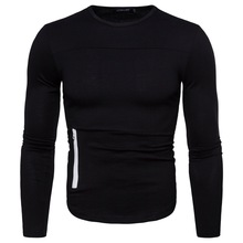 Autumn T-shirt Long-sleeved Men's New European Code Personality Zipper Decorative Round Neck Long-sleeved Casual Sports Shirt 2019 autumn new european and american women s personality stitching ruffled long sleeved round neck slim bag hip dress