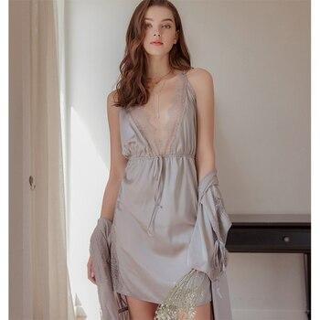 Munllure Temperament sexy deep V satin silky passion set lace side slits temptation nightdress comfortable underwear