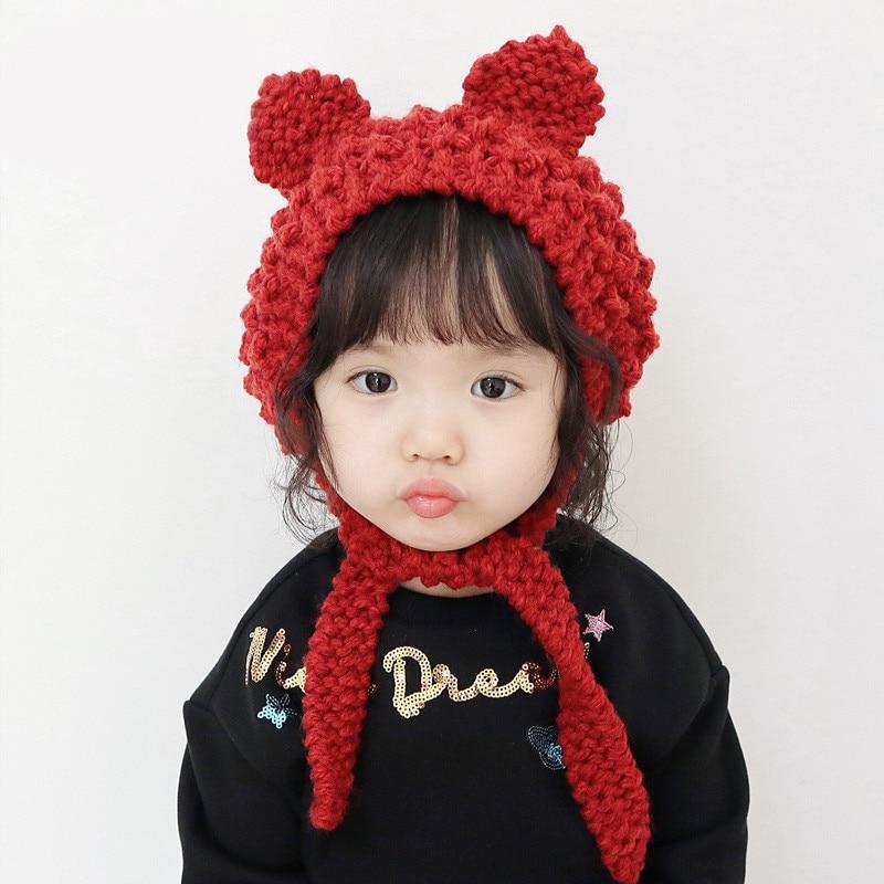 Autumn Winter Woolen Earmuffs Girls Kid Knitted Cute Hat  Fashion Comfortable Crochet Ear Flap Baby Solid Color Earmuffs Toddler