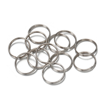 50pcs 304Stainless Steel Key Ring Connector Findings for DIY Keychain Making 10/12/18/20mm Douple Loop Circle Bezel Accessories