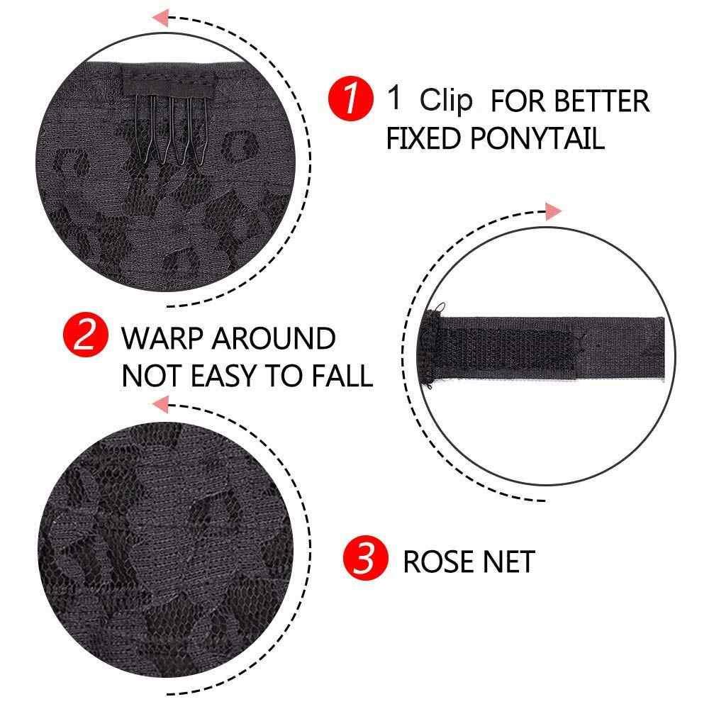 ロング焼きディープ波ポニーテール延長マジックペースト耐熱焼き水波状合成ポニーテール黒かつら