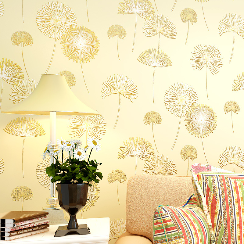 Wallpaper Wholesale Environmentally Friendly Non-woven Wallpaper Bedroom Warm And Romantic Wall Wallpaper Dandelion Wallpaper