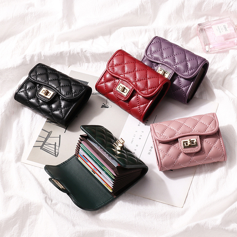 New Genuine leather Card Holder Women's Credit ID Passport Business Card Handbags Fashion designer Purse Short Wallet