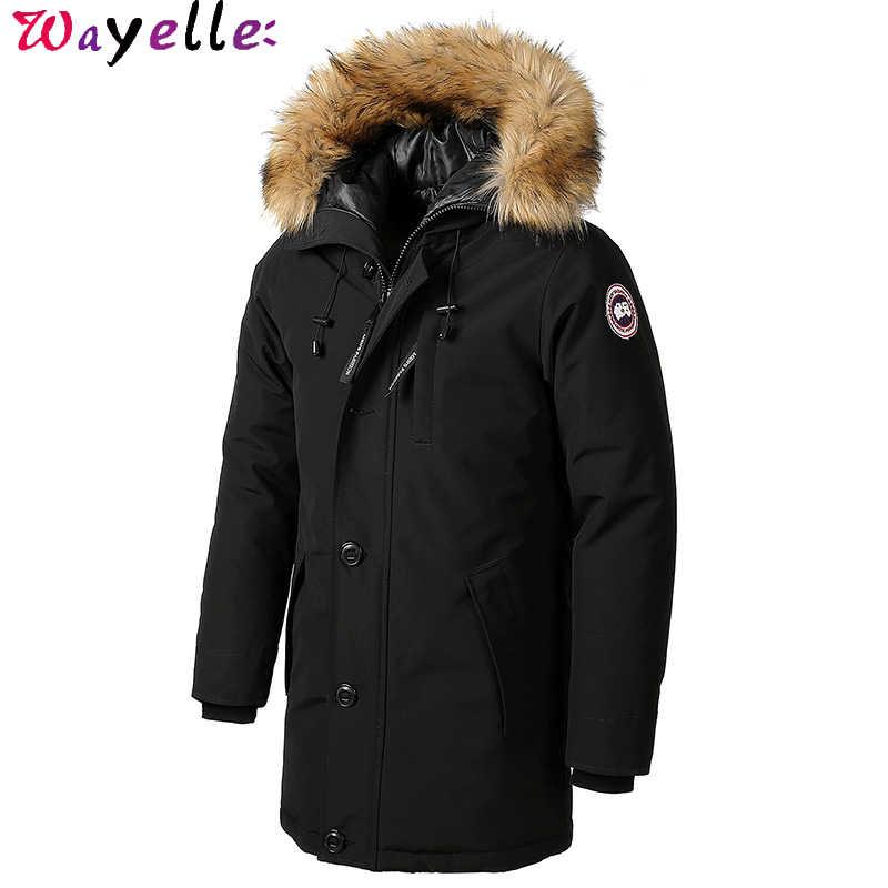 冬厚い綿ダウンジャケット毛皮の襟の男性フード付きロング防水上着パーカカナダ暖かい綿コート